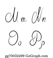 hand drawn calligraphic letters mnop isolated