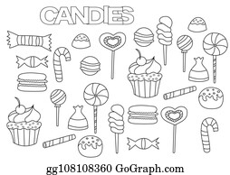 Vector Illustration Coloring Book Cartoon Candy Store Stock