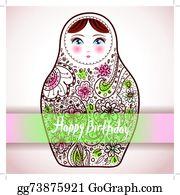 Happy Birthday Card Design Russian Doll Matrioshka Babushka Sketch