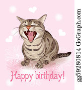 Clip art vector happy birthday greeting card with little kitten on birthday card with thai kitten and gerberas happy birthday card funny cat sings greeting song pink background with hearts and flowers bookmarktalkfo Image collections