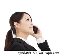 Stock Photography Happy Asian Business Woman Talking On