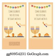 Clip art vector children celebrating hanukkah greeting card happy hanukkah greeting card design snowing holiday template for party invitation hebrew letters on m4hsunfo