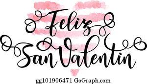 Feliz Durchmesser De San Valentin Happy Valentines Day Auf Spanisch Vektor  Abbildung - Illustration von feiertag, beschriftung: 107155496