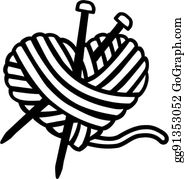heart wool ball with needles vector clipart gg91353052