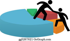 Helping hand to pie chart business financial success
