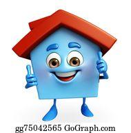 Happy House Cartoon Thumb Up Stock Illustrations Royalty Free