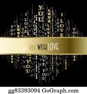 Vector Illustration - I love you words background  EPS