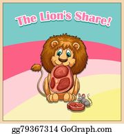 Vector Art - Lion eating his share of meat  EPS clipart gg79040837