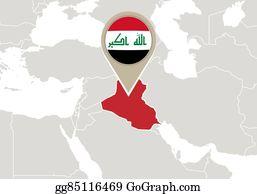 EPS Illustration - Map of iraq, ninawa highlighted. Vector Clipart ...