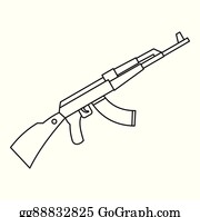 Eps Illustration Assault Rifle Ak 47 Contour Drawing In Pencil