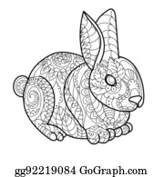 Bunny Lines Clipart Lizenzfrei Gograph