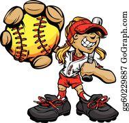 Softball cartoon. Clip art royalty free