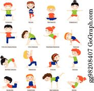 Eps Illustration Children In Yoga Poses Cartoon Fitness Kids In Yoga Asana Vector Characters Isolated Set Vector Clipart Gg107575962 Gograph