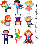children at play, kids, dressing up Royalty Free Vector Clip Art  illustration -vc006126-CoolCLIPS.com