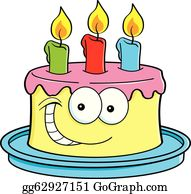 Happy Birthday Cake Card For 3 Three Year Party Stock Vector