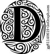 Vector Art Font Tattoo Engraving Letter D With Shading Eps