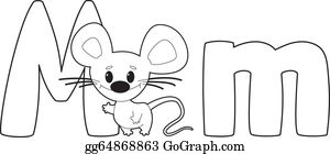 Eps Illustration Flashcard Letter M Is For Mouse Vector Clipart
