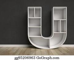 Letter R Shaped Shelves U