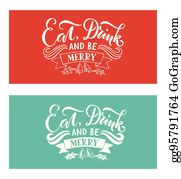 lettering eat drink and be merry for christmasnew year greeting card