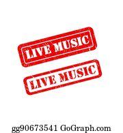 Live Music Stamp Clip Art