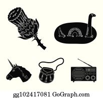 Loch Ness Monster, Thistle Flower, Unicorn, Sporan. Scotland.. Royalty Free  Cliparts, Vectors, And Stock Illustration. Image 97818957.