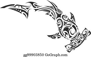 d82f8b92e Shark Tattoo In Tribal Style Clip Art - Royalty Free - GoGraph