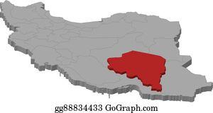 Vector Art Map of iran east azerbaijan highlighted Clipart