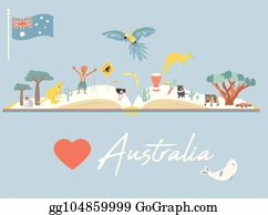 Australia Map Landmarks.Vector Art Map Of Australia With Landmarks And Wildlife Eps