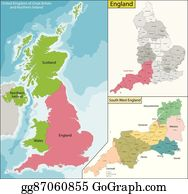 Map Of England 870.North West England Clip Art Royalty Free Gograph