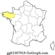 Brittany On Map Of France.Vector Art Map Of France Brittany Highlighted Clipart Drawing