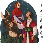 Vector Illustration Of Mary And Joseph Embrace Newborn - Mary And Joseph  And Baby Jesus - Free Transparent PNG Clipart Images Download