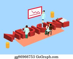 Vector Stock - Science 3d neon isometric word and little people