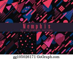 Vecteur EPS - Memphis, seamless, pattern , géométrique, éléments