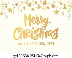 merry christmas card hand drawn lettering golden glitter border with hanging balls stars