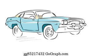 Vector Art Old Muscle Car Vector Outline Colored Sketch Eps