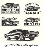 Vector Stock Car Muscle 70s Vector Silhouette Stock Clip Art