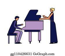 Female Folk Singer - Royalty Free Clip Art Illustration