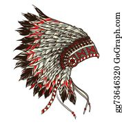 217095977b735 American Indian Chief Tattoo Clip Art - Royalty Free - GoGraph