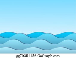Abstract watercolor blue sea background. Clipart Image
