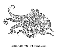 Vector Clipart - Octopus coloring book for adults vector. Vector ...