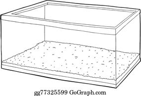 Eps Vector Outline Of Aquarium With Gravel Stock Clipart Illustration Gg80961201 Gograph
