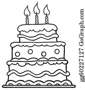 Birthday Cake Sketch Clip Art Royalty Free Gograph