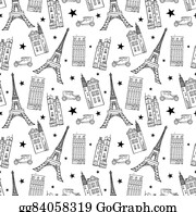 Paris Streets Black White Drawing Seamless Pattern With Eifel Tower Houses Cars And Stars
