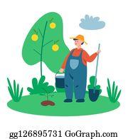 Landwirt IN Einem Maisfeld Clipart Bilder Vektor