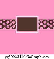 clipart brown pink polka dot invite stock illustration