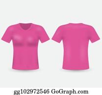 a7ca22d7 Pink vector v-neck t-shirt template. Men's short sleeve t-shirt