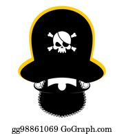 8bee0e01ff9 Pirate portrait in hat. Eye patch and smoking pipe. filibuster cap. Bones  and
