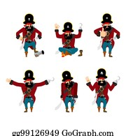 Guilty And Sad. Vector Illustration. Pirate set poses and motion.  filibuster happy and yoga. buccaneer sleeping and angry. bb24c323b90e