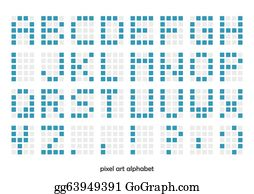 Pixel Alphabet Clip Art - Royalty Free - GoGraph