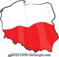 Vector Stock - Poland map with flag inside and ribbon. Clipart ...